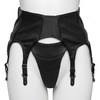 Black Leather Six Strap Suspender Belt