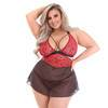 Lovehoney Plus Size Wild Spirit Red Lace Cut-Out Babydoll Set