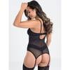 Lovehoney Wild Desire Black Leopard Lace Basque Set