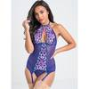 Lovehoney Passion Flower Purple Halterneck Basque Set