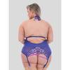 Lovehoney Plus Size Passion Flower Purple Halterneck Basque Set
