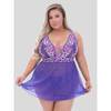 Lovehoney Plus Size Passion Flower Purple Babydoll Set