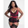 Lovehoney Plus Size Empress Red Satin and Lace Basque Set