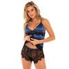 Oh La La Cheri Royal Blue Satin and Lace Cami Set