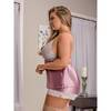 Exposed Plus Size Pink Satin and Lace Cami Set