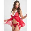 Lovehoney Christmas Pom-Pom Red Sheer Babydoll Set