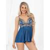 Escante Blue Satin and Lace Babydoll Set