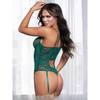 Seven 'til Midnight Green Floral Lace Underwired Thong Body