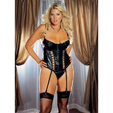 Dreamgirl Plus Size Wet Look Bustier Stockings Set