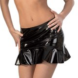 Black Level Ruffled PVC Mini Skirt