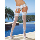 Dreamgirl White Diamond Stretch Lace Garter Thong and Stockings