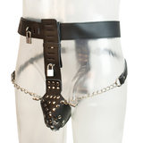 Bondage Boutique Leather Male Chastity Belt with Two Removable Butt Plugs