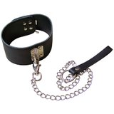Bondage Boutique Lockable Leather D-Ring Collar and Lead