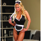 Dreamgirl Red Diamond 4-Piece Naughty French Maid Halter Body Set