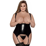 Exposed Liquid Onyx Plus Size Cupless Merry Widow and G-String Set