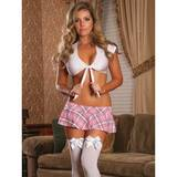 Exposed Schoolgirl Tie Top & Skirt Set