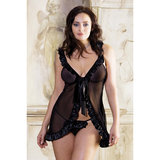 iCollection Plus Size Sheer Satin Babydoll with Tie Front and Thong