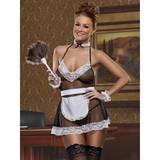 Exposed Cheap Thrills Plus Size Hot Fishnet and Lace French Maid Costume