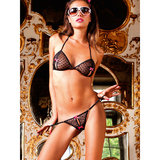 Baci Lingerie Sheer Heart Crotchless Bra Set