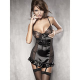 Anais Splash Sheer Satin Panelled Chemise Set