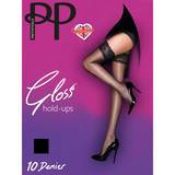 Pretty Polly Gloss 10 Denier Lace Top Black Hold Ups