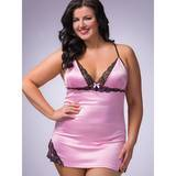 Lovehoney Plus Size seidiges Babydoll-Set in Rosa