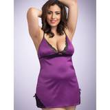 Lovehoney Plus Size seidiges Babydoll-Set in Pflaume