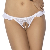 Anais Igazi Crotchless Lace Thong with Pearl Charm