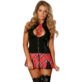 Exposed Zip Front Red and Black Tartan Dress