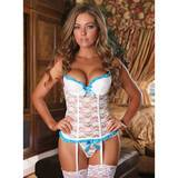 Ensemble bustier string dentelle Luv blanc, Exposed