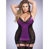 Lovehoney Plus Size Treasure Me Purple Underwired Plunge Chemise Set