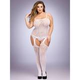 Lovehoney Plus Size White Fishnet and Lace Bodystocking