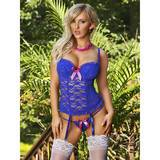 Exposed Luv Blue Floral Lace Bustier & G-String Set