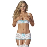 Exposed Luv 1/2 Cup White Floral Lace Bra and Suspender Set