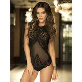 Mapale Lace and Mesh Corset Back Teddy