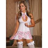 Exposed Zip Front Sexy Schoolgirl Costume White
