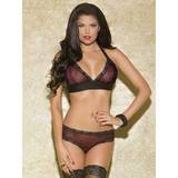 Glitter Red Leopard and Lace Halter Bra and Brief Set