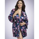 Déshabillé en satin grande taille Midnight Bloom, Lovehoney