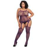 Bodystocking de Encaje y Rejilla Color Ciruela Talla Grande Lovehoney
