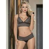 Escante Cage Striped Longline Bra Set