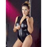 Wet Look Zip-Up Crotchless Teddy