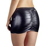 Wet Look Ruched Back Miniskirt