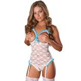 Exposed Luv Floral Lace Crotchless Open Cup Teddy Set
