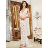 Dreamgirl White Lace Deep Plunge Full Length Gown