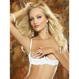 Dreamgirl White Underwired Half Cup Lace Bra