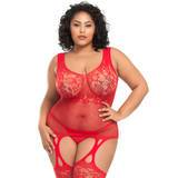 Lovehoney Plus Size Red Lace and Fishnet Suspender Bodystocking