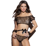 Coquette Kissable Off the Shoulder Bra, Cuffs and Panties Set