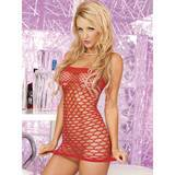 Pink Lipstick Red Fence Net Bandeau Dress