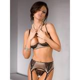 Satin Quarter Cup Bra and Suspender Set