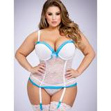 Ensemble guêpière push up string dentelle gde taille blanc Seduce Me, Lovehoney